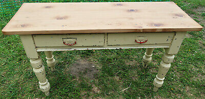 Antique Pine Farmhouse Table W/Drawers Distressed/Restored and Waxed 50x136cm