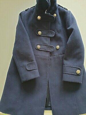Monsoon Military style, girls navy coat, two missing buttons (see photo) age 7-8
