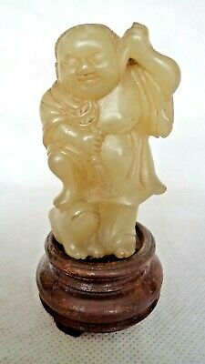 Very Fine Chinese 19Th Century Qing Jade Figure Budai With Sack & Foo Dog