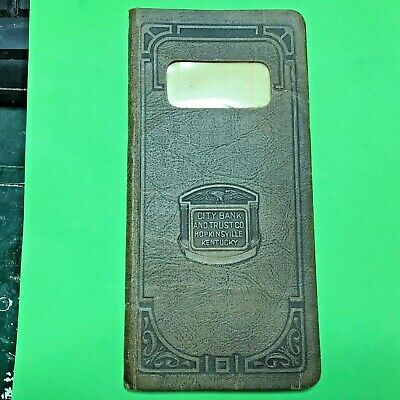 Vtg c1910 Leather Pocket Ledger City Bank & Trust Company Hopkinsville Kentucky