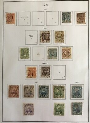 2 Pages Of Stamps From Haiti, 1881 To 1898