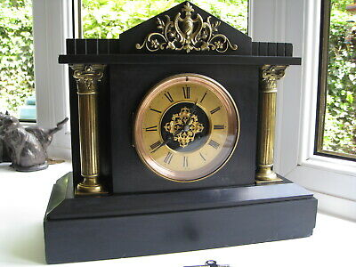 Mid 19th Century French Slate Mantle clock, Working good timekeeper, no strike.
