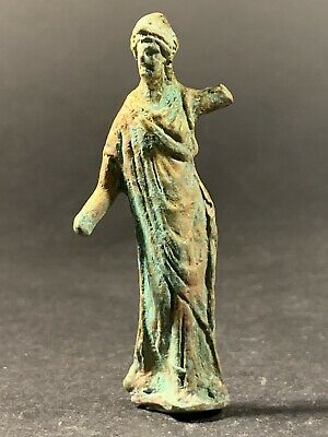 Rare & Detailed Ancient Roman Diana Statue Signs Of Gold Gilding Ca. 100-200 Ad