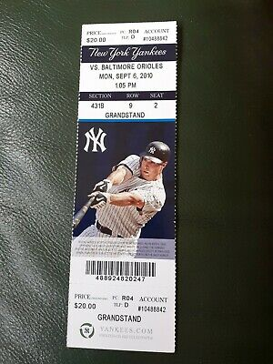 New York Yankees Used Ticket V Baltimore Orioles 2010