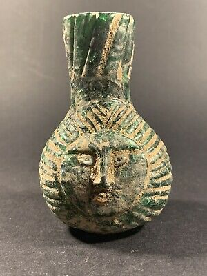 Rare Roman/Phoenician Coloured Glass Bottle With Face Decorations Ca 100-200 Bc