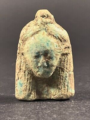 Ancient Egyptian Faience Pharaonic Bust Amulet Original Colour Circa 690-332Bc