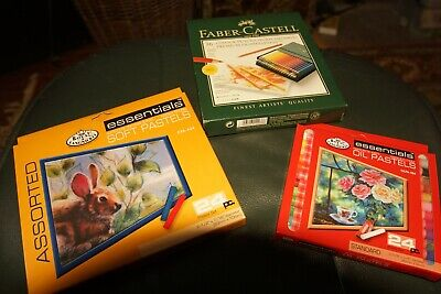 Faber Castell Coloured Pencils x36 , Royal Langnickel Oil x24 & Soft Pastels x24