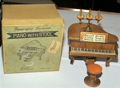 Antique Dollhouse Illfelder Miniature Piano With Stool and Triple Candelabra
