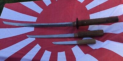 A Set Of Three Antique Japanese Samurai Swords Brought Home After WW2