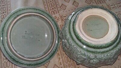 Celadon pot & cover.chinese ? green bowl & lid. signed