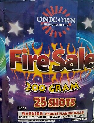Fire Sale 25 shot 200g cut off collectable Firework labels (salute, fireworks)