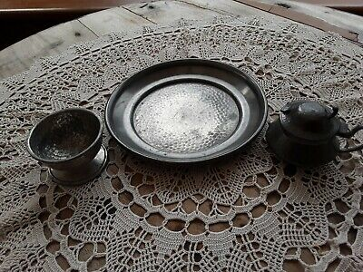 Antique Pewter, Hammered Plate And Salt Pot. Small Mustard Pot In Excellent Cond