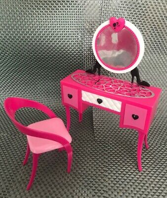 Barbie doll furniture - pink vanity mirror dressing table and chair