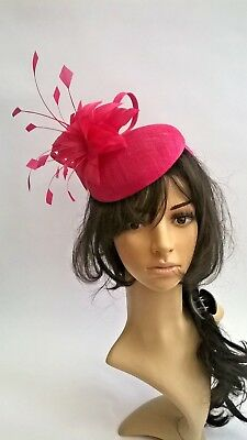 Fuchsia Pink Sinamay & Feather Fascinator..pillbox style Wedding.races.