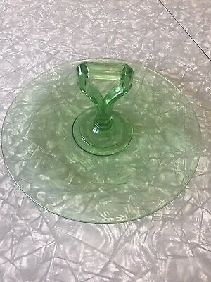 Green DEPRESSION GLASS Tray Dish Handle Serving Platter Etched Flowers