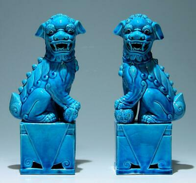 A Pair of Chinese Turqoise Glazed Porcelain Foo Lions