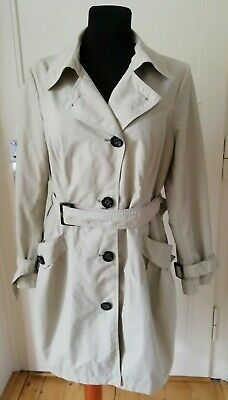 M&S Trench Mac Coat UK 16 Stone Cream Belt EUR 44 Jacket Single Breasted