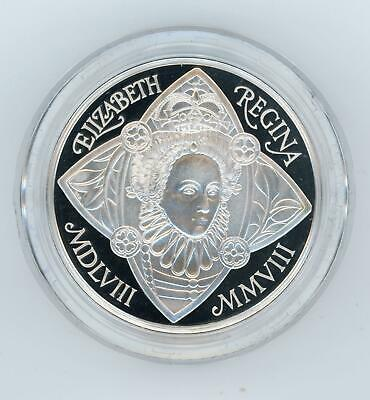 GB 2008 UK Queen Elizabeth I PIEDFORT Silver Proof Coin by Royal Mint