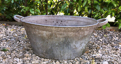 Vintage Galvanised Garden Trough Planter Bath Tub Twin Handle Beautiful Patina!