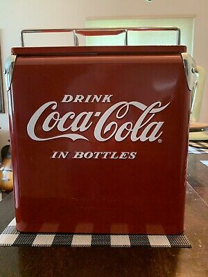 Reproduction Red Metal Coca-Cola Coke Ice Chest Cooler