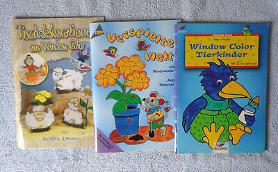 3 Window Color Hefte - Tierkinder - Verspielte Welt - Tischdekorationen -