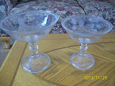 Victorian Etched 2 Matching EAPG Crystal Elegant Pedestal Style Compotes