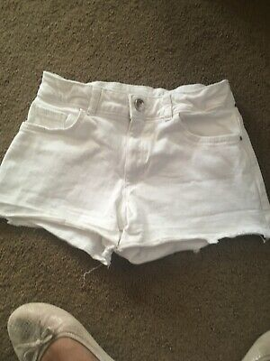 Girls White Denim River Island Shorts Age 11 - 12 Years