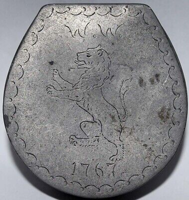 18Th Century Pewter Lidded Snuff Box (Waddington Family) - W.w. 1767 With Lion