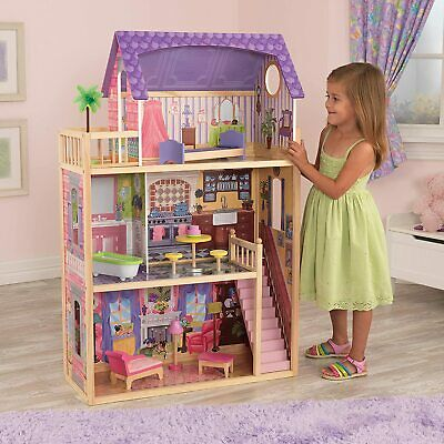 3 storey Wooden Dolls House with furniture & accessories play set for 30cm DOLLS