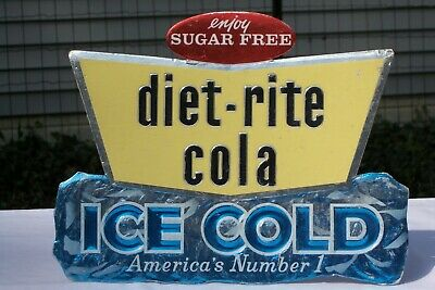 """Vintage Original 1960's DIET RITE COLA Sign /""""RARE"""" Only one Like! It Free Ship"""