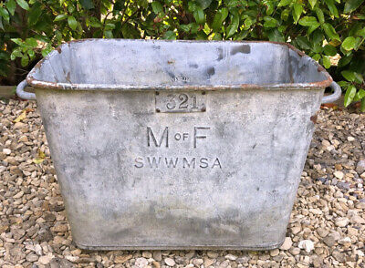 Vintage Galvanised BELDRAY Garden Trough Planter Beautiful Twin Handle Patina!