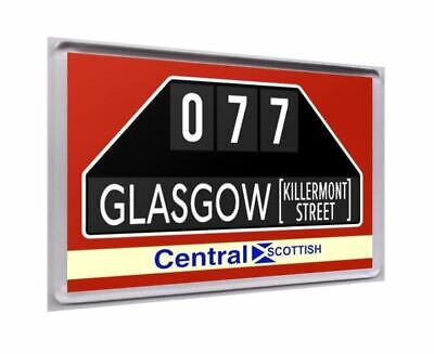 Central Scottish bus destination fridge magnet - Route 77 Glasgow Killermont St.