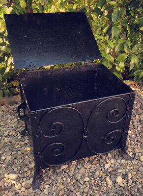 Victorian Genuine Antique Cast Iron Fireplace Coal Log Storage Box Stunning Mint