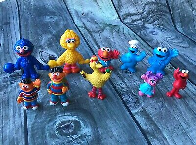 Lot of 10 Sesame Street Figures Ernie Big Bird Grover Cookie Monster Toys Small