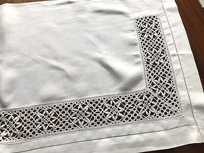 Vintage Long Needle Work LACE White Linen Table Sideboard Runner Centre Cloth