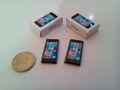 Dolls House Miniature 1/12th Scale mobile phones and box X2 iphone replica