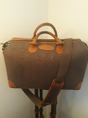 Vtg FRENCH CO LUGGAGE Carry On USA HERRINGBONE