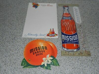 3 Different Vintage Mission Soda Advertising Items