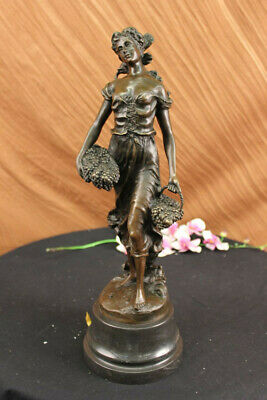 Real Bronze Gorgeous Maiden Standing Woman Sculpture Home Decoration Decor
