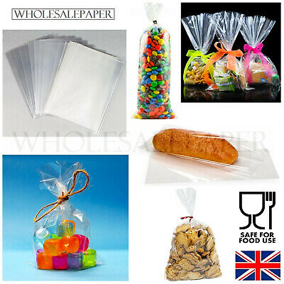 Small & Large Clear Cellophane Food Sweet Gift Cello Bag Wrap Candy Cookie Party