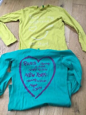 Girls 'United Colors of Benetton' Long Sleeve T-Shirts- Age 10- 11 Years