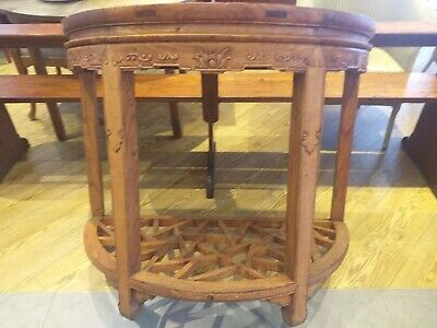 ANTIQUE carved CHINESE HARDWOOD console demi lune SIDE HALL table DECORATIVE