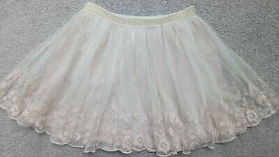 Mini Boden Girls Tulle Skirt Nude with Delicate Embroidery, 11-12 years STUNNING