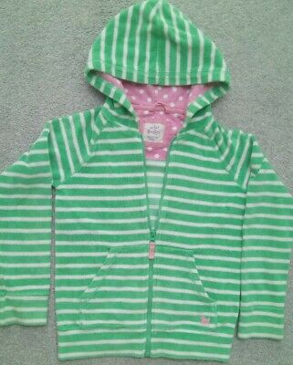 Girls Mini Boden Towelling Zip Up Hoodie, 9-10 years, Stripy for Summer/ Beach