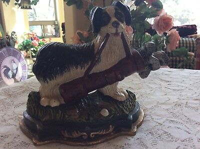 Vintage Cast Iron Dog With Golf Clubs Doorstop
