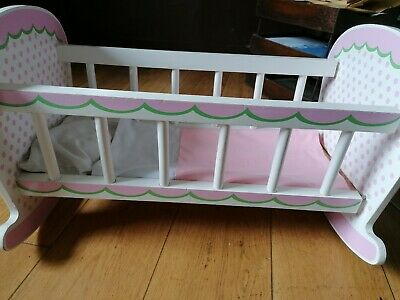 Wooden toy rocking bed cot crib, white pink dolls toy cradle gt little trading