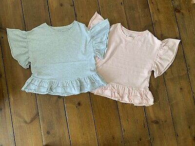Girls NEXT Age 7 Years T-Shirt x 2- BUNDLE Pink Grey Ruffle Hem Cotton