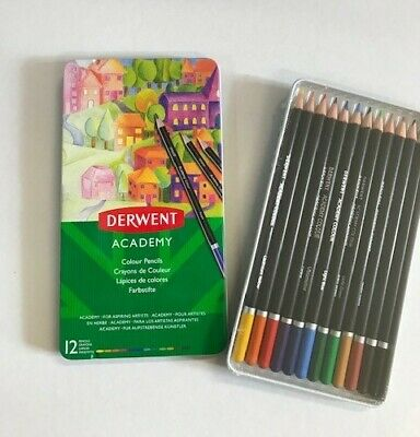 BRAND NEW Derwent Academy Colouring Pencils in Metal Tin Pack of 12