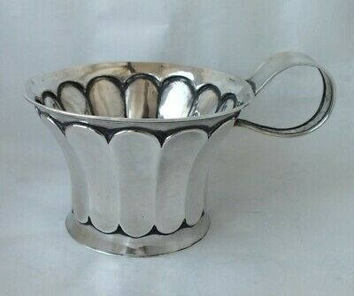 Unusual Antique Chester 1904 Solid Sterling Silver Cup/ Mug/ H 7 cm/ 135 g