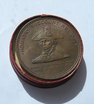 Great Britain Horatio Nelson Flagship 38mm Copper Medal 1897 in box Unc